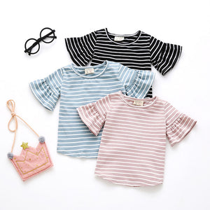 Striped Butterfly Sleeve Top | Black |RTS