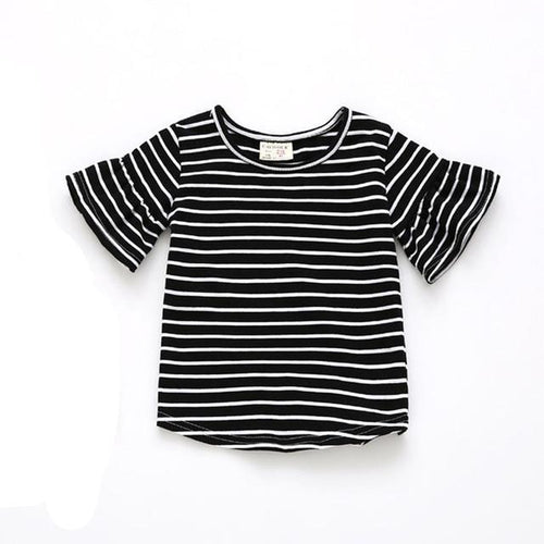 Striped Butterfly Sleeve Top- Black