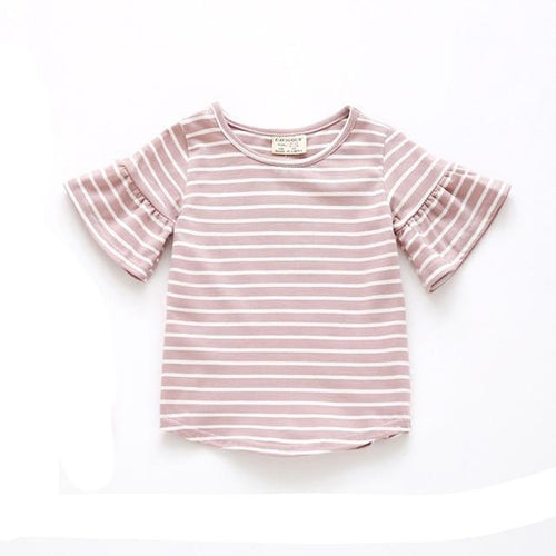 Striped Butterfly Sleeve Top | Pink |RTS