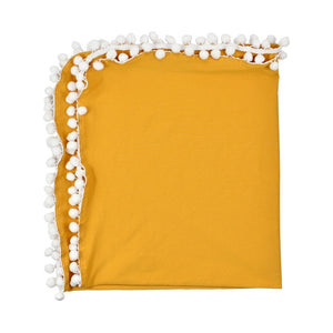 Pom Pom Swaddle Blanket | Mustard Yellow
