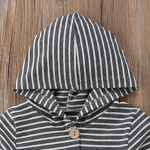 Striped LS Hooded Romper | RTS