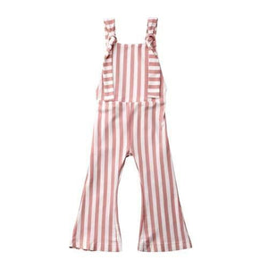 Striped Bell bottoms Romper- Nude Pink