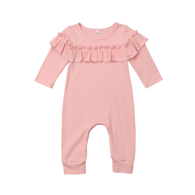 Pink Ribbed Ruffle Romper | RTS