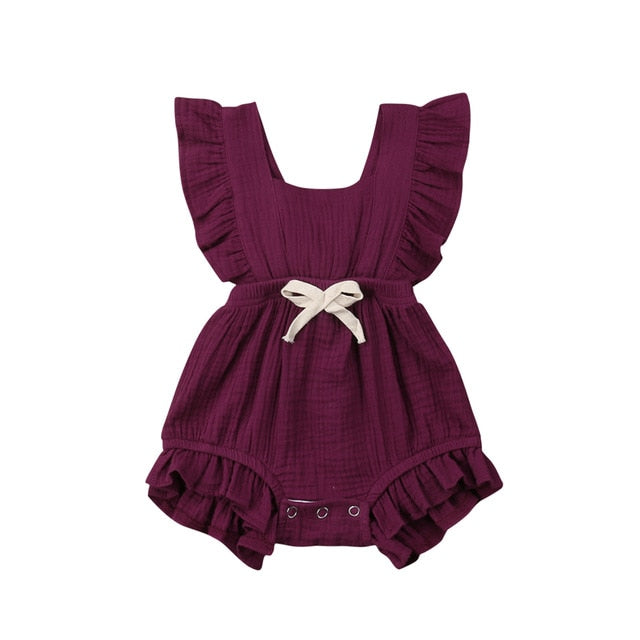 Ruth Ruffle Romper- Purple Burgundy