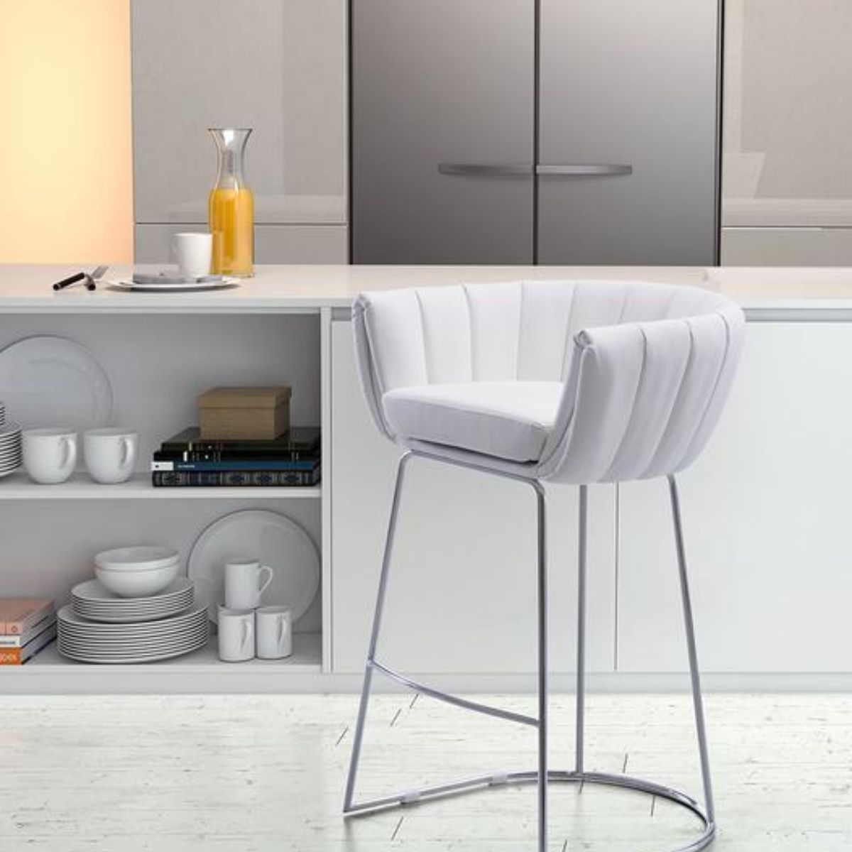 Zuo - White Bar Stool - Bar and Counter Stools - Wall2Wall Furnishings