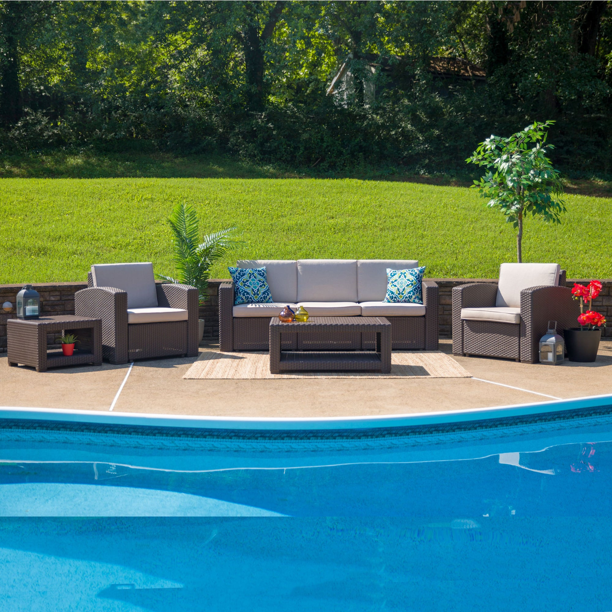 Outdoor Furniture Set Rattan with Coffee and End Tables