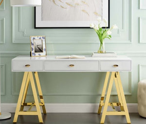 White Desk with Gold Legs