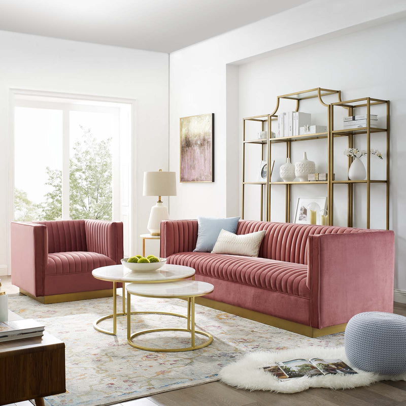 Pink Performance Velvet Sofa and Armchair in a Living Room