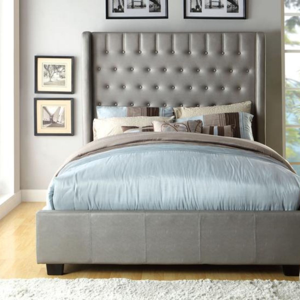 Beds - Grey Platform Bed - Bedroom Furniture - Wall2Wall Furnishings