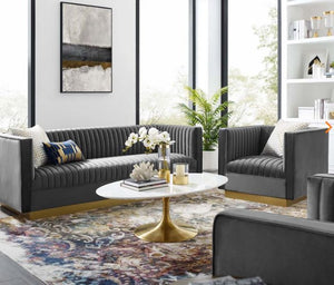 Dark Grey with Gold Living Room Set