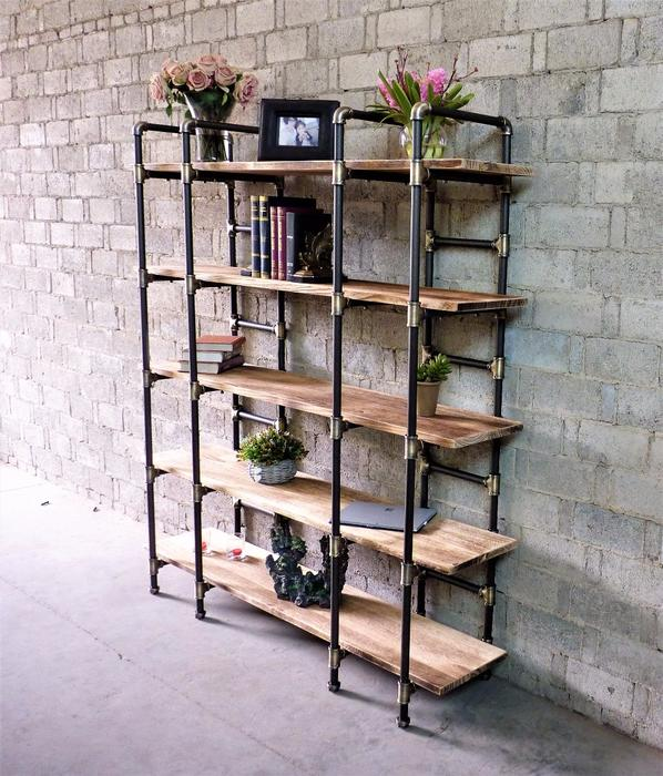 Furniture Pipeline Industrial Style Bookcase - Bookshelf - Shelves - Wall2Wall Furnishings