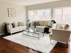 Living Room with Sofa Set and Coffee Table on top of an Area Rug