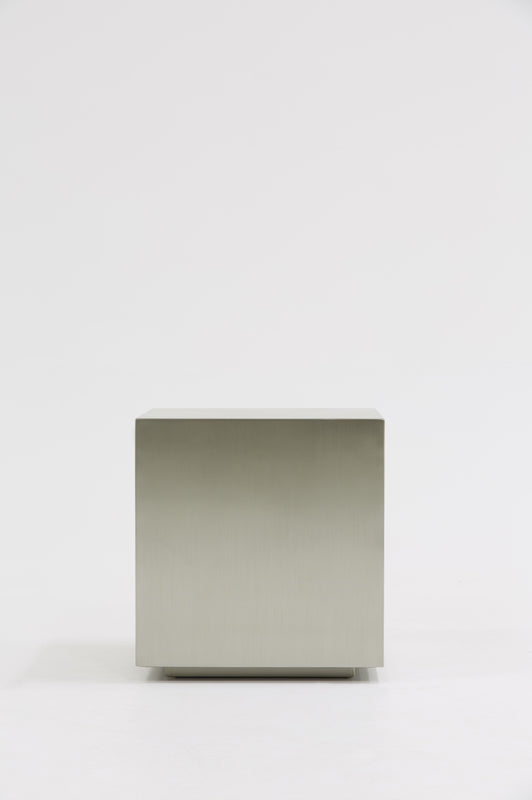 Modrest Anvil Modern Brushed Stainless Steel End Table-End Table-VIG-Wall2Wall Furnishings