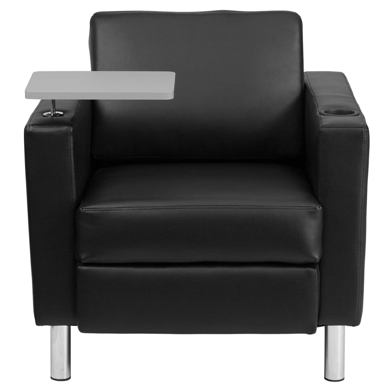 Guest Chair with Tablet Arm, Tall Chrome Legs and Cup Holder-Tablet Reception Chair-Flash Furniture-Wall2Wall Furnishings