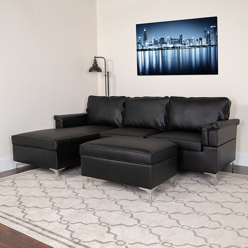 Boylston Upholstered Plush Pillow Back Sectional with Left Side Facing Chaise and Ottoman Set-Sectional-FedEx-Flash Furniture-Wall2Wall Furnishings