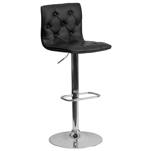 Contemporary Tufted Vinyl Adjustable Height Barstool with Chrome Base-Bar Stool-Flash Furniture-Wall2Wall Furnishings