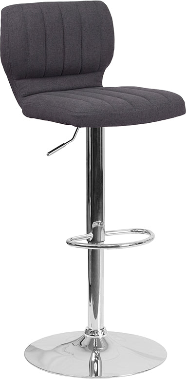 Contemporary Adjustable Height Barstool with Chrome Base-Bar Stool-Flash Furniture-Wall2Wall Furnishings