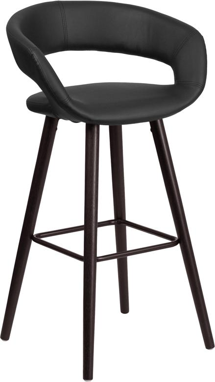 Brynn Series 29'' High Contemporary Vinyl Barstool with Cappuccino Wood Frame-Bar Stool-Flash Furniture-Wall2Wall Furnishings