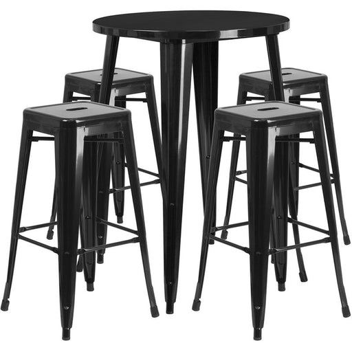 30'' Round Metal Indoor-Outdoor Bar Table Set with 4 Square Seat Backless Stools-Indoor/Outdoor Dining Sets-Flash Furniture-Wall2Wall Furnishings