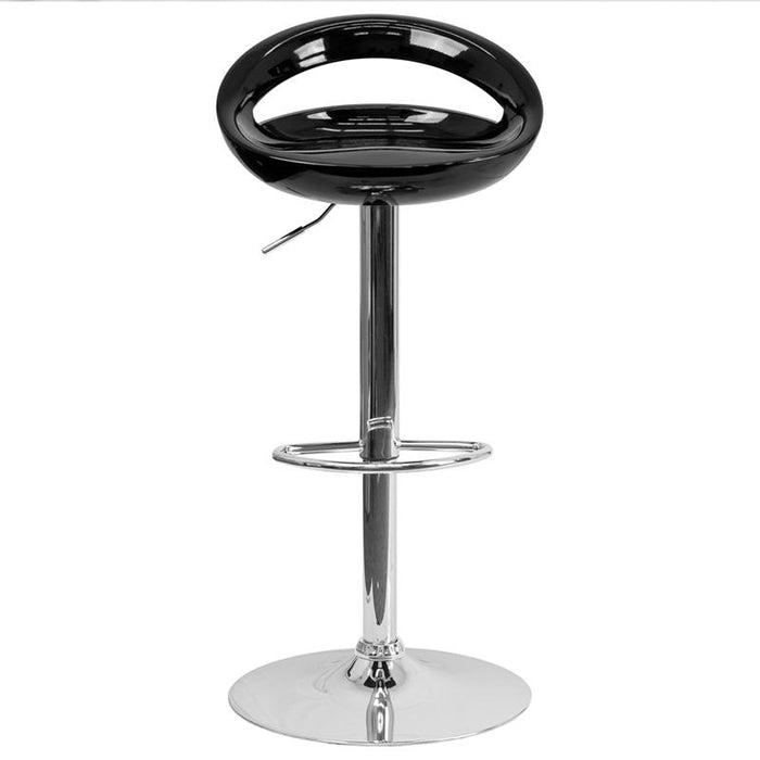 Contemporary Plastic Adjustable Height Barstool with Chrome Base-Bar Stool-Flash Furniture-Wall2Wall Furnishings