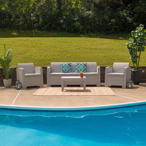 4 Piece Outdoor Faux Rattan Chair, Sofa and Table Set-Outdoor Set-Flash Furniture-Wall2Wall Furnishings