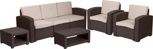 5 Piece Outdoor Faux Rattan Chair, Sofa and Table Set-Outdoor Set-Flash Furniture-Wall2Wall Furnishings