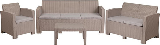 4 Piece Outdoor Faux Rattan Chair, Loveseat, Sofa and Table Set-Outdoor Set-Flash Furniture-Wall2Wall Furnishings