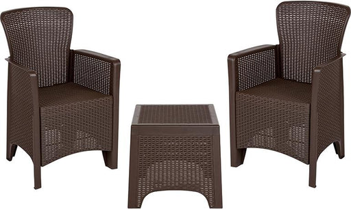 Faux Rattan Plastic Chair Set with Matching Side Table-Outdoor Set-Flash Furniture-Wall2Wall Furnishings