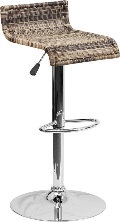 Contemporary Wicker Adjustable Height Barstool with Chrome Base-Bar Stool-Flash Furniture-Wall2Wall Furnishings
