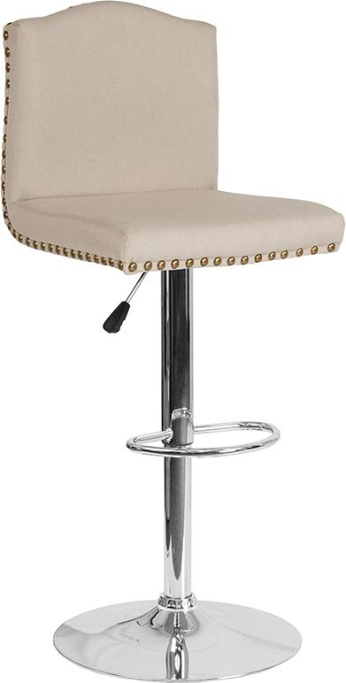 Bellagio Contemporary Adjustable Height Barstool with Accent Nail Trim-Bar Stool-Flash Furniture-Wall2Wall Furnishings