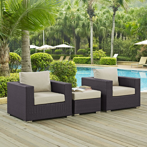 Convene 3 Piece Outdoor Patio Armchair Set-Outdoor Set-Modway-Wall2Wall Furnishings