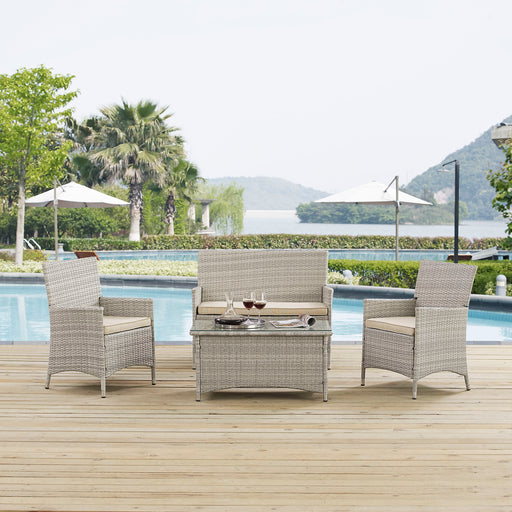 Bridge 4 Piece Outdoor Patio Patio Conversation Set-Outdoor Set-Modway-Wall2Wall Furnishings