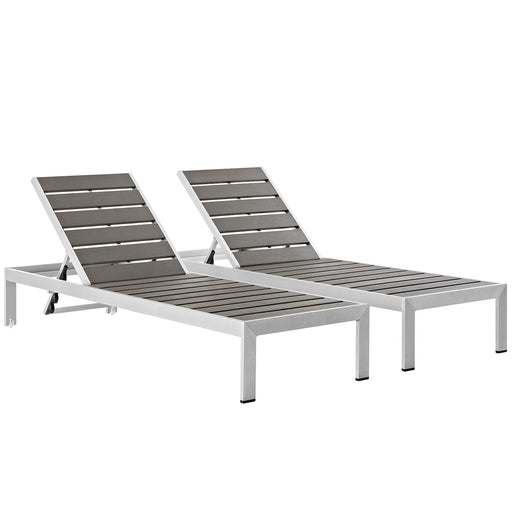 Shore Chaise Outdoor Patio Aluminum Set of 2-Outdoor Set-Modway-Wall2Wall Furnishings