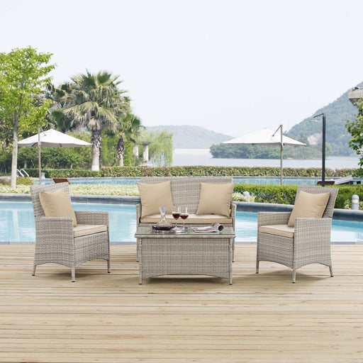 Bridge 4 Piece Outdoor Patio Patio Conversation Set with Pillow Set-Outdoor Set-Modway-Wall2Wall Furnishings