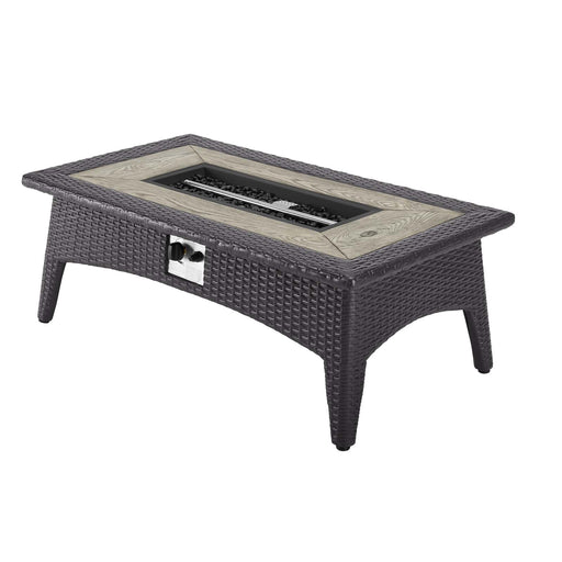 "Splendor 43.5"" Rectangle Outdoor Patio Fire Pit Table-fire pit-Modway-Wall2Wall Furnishings"