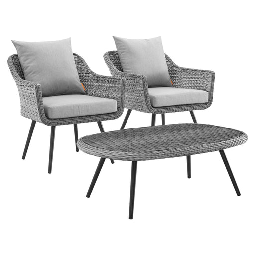 Endeavor 3 Piece Outdoor Patio Wicker Rattan Sectional Sofa Set-Outdoor Set-Modway-Wall2Wall Furnishings