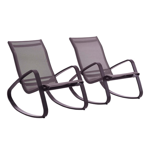 Traveler Rocking Lounge Chair Outdoor Patio Mesh Sling Set of 2-Outdoor Set-Modway-Wall2Wall Furnishings