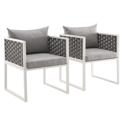 Stance Dining Armchair Outdoor Patio Aluminum Set of 2-Outdoor Set-Modway-Wall2Wall Furnishings