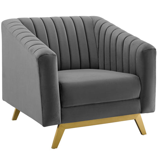 Valiant Vertical Channel Tufted Performance Velvet Armchair-Arm Chair-Modway-Wall2Wall Furnishings
