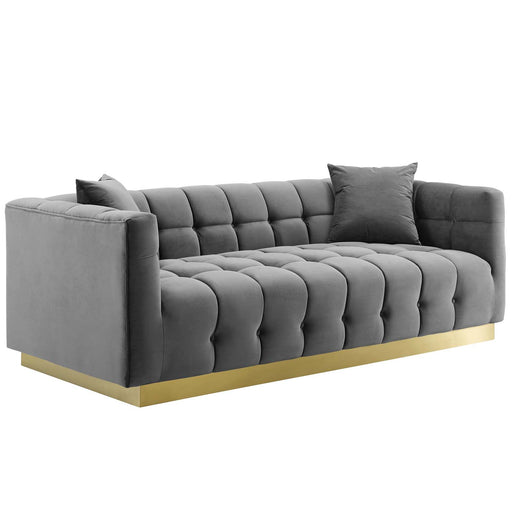 Vivacious Biscuit Tufted Performance Velvet Sofa-Sofa-Modway-Wall2Wall Furnishings