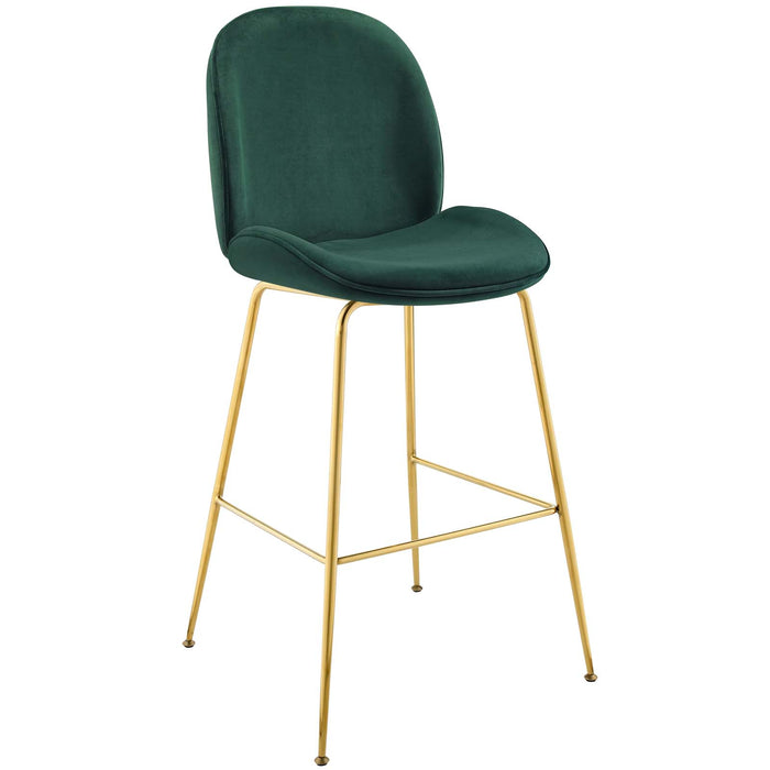 Scoop Gold Stainless Steel Leg Performance Velvet Bar Stool-Bar and Counter Stools-Modway-Wall2Wall Furnishings