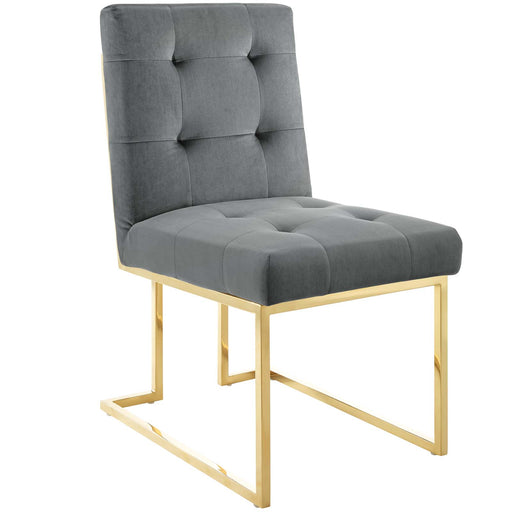 Privy Gold Stainless Steel Performance Velvet Dining Chair-Dining Chair-Modway-Wall2Wall Furnishings