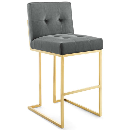 Privy Gold Stainless Steel Performance Velvet Bar Stool-Bar Stool-Modway-Wall2Wall Furnishings