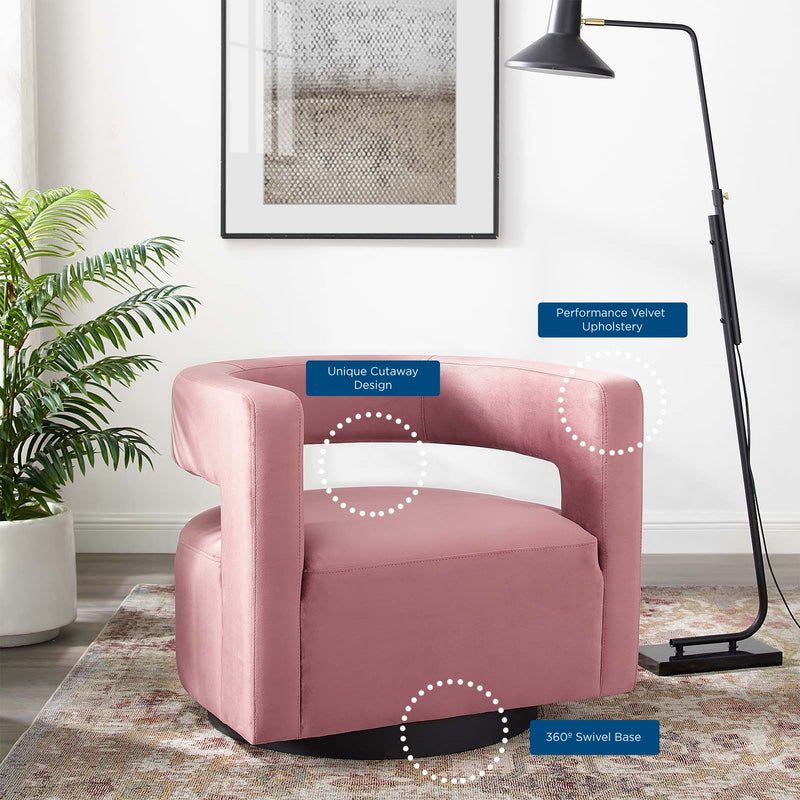 Spin Cutaway Performance Velvet Swivel Armchair-Armchair-Modway-Wall2Wall Furnishings