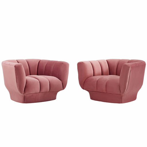 Entertain Vertical Channel Tufted Performance Velvet Armchair Set of 2-Sofa Set-Modway-Wall2Wall Furnishings