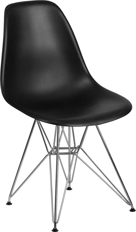 Elon Series Plastic Chair with Chrome Base-Accent Chair-Flash Furniture-Wall2Wall Furnishings