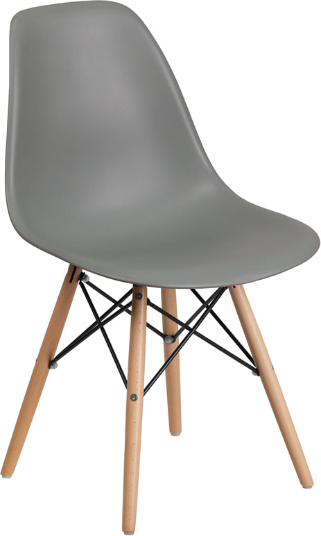 Elon Series Plastic Chair with Wooden Legs-Accent Chair-Flash Furniture-Wall2Wall Furnishings