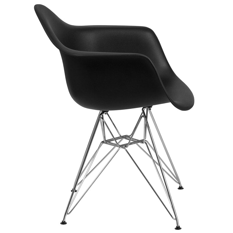 Alonza Series Plastic Chair with Arms and Chrome Base-Accent Chair-Flash Furniture-Wall2Wall Furnishings
