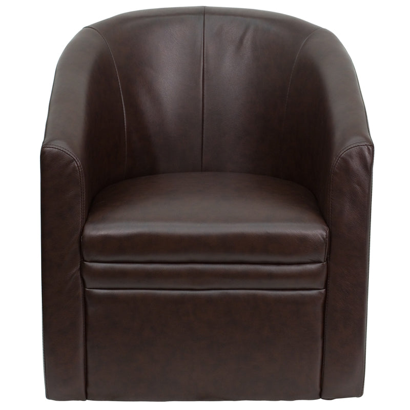 Leather Barrel-Shaped Guest Chair-Reception Chair-Flash Furniture-Wall2Wall Furnishings