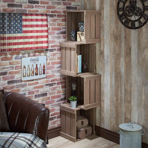 Jost Rustic 4 Shelf Crate Style Corner Display Case-bookcase-Furniture of America-Wall2Wall Furnishings